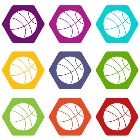 Basketball ball icon set color hexahedron