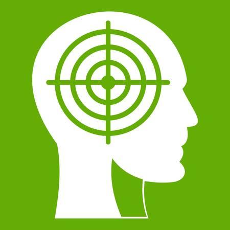 Crosshair in human head icon green