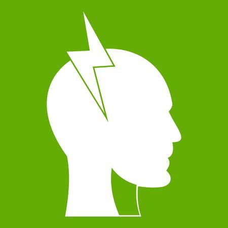 Lightning bolt inside head icon green Illustration