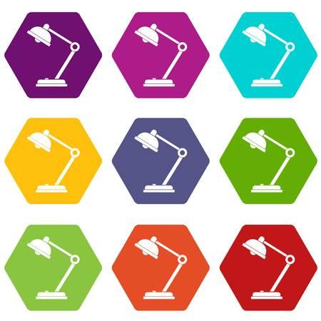 electric fixture: Desk lamp icon set color hexahedron Illustration
