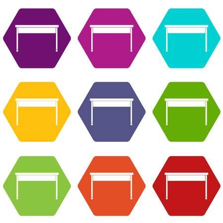 Desk icon set color hexahedron Illustration