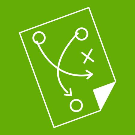 Soccer strategy icon white isolated on green background. Vector illustration