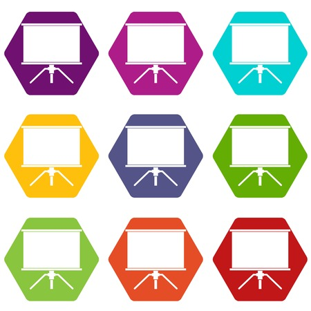 Blank projection screen icon set many color hexahedron isolated on white vector illustration Illustration
