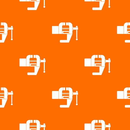 Vise tool pattern repeat seamless in orange color for any design. Vector geometric illustration