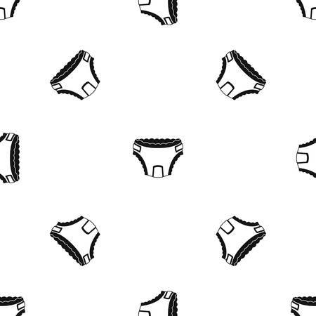 incontinence: Baby diaper pattern repeat seamless in black color for any design. Vector geometric illustration