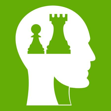 Head with queen and pawn chess icon white isolated on green background. Vector illustration