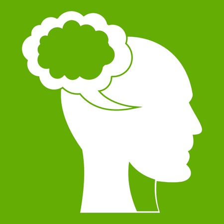 Speech bubble with human head icon white isolated on green background. Vector illustration