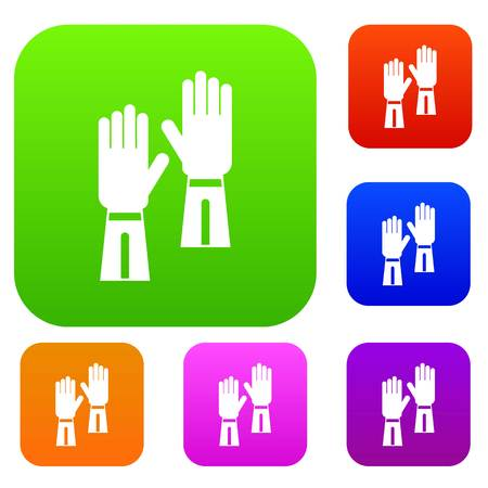 Gloves set icon in different colors isolated vector illustration. Premium collection Illustration