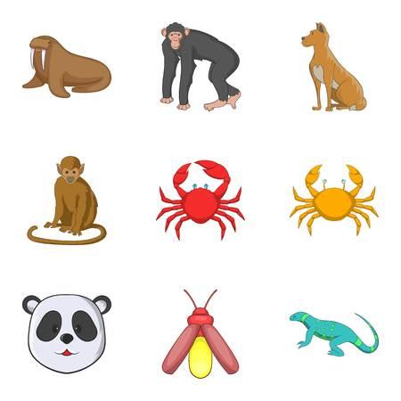 Monkey icons set. Cartoon set of 9 monkey vector icons for web isolated on white background