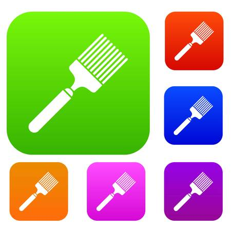 Brush set icon in different colors isolated vector illustration. Premium collection