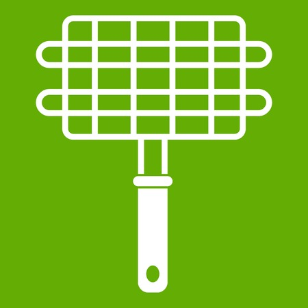 Stainless barbecue grill camping basket icon white isolated on green background. Vector illustration Illustration