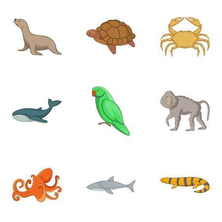Water inhabitant icons set. Cartoon set of 9 water inhabitant vector icons for web isolated on white background Illustration
