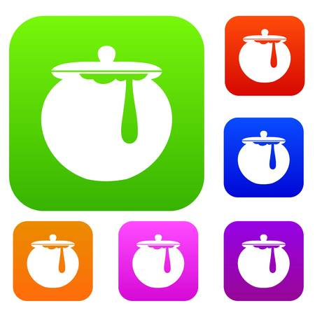 mead: Honey pot set icon in different colors isolated vector illustration. Premium collection Illustration