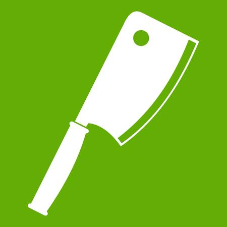 Meat knife icon white isolated on green background. Vector illustration