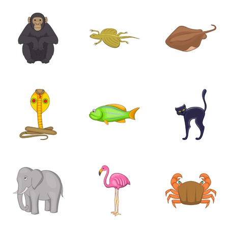 Beautiful animal icons set. Cartoon set of 9 beautiful animal vector icons for web isolated on white background