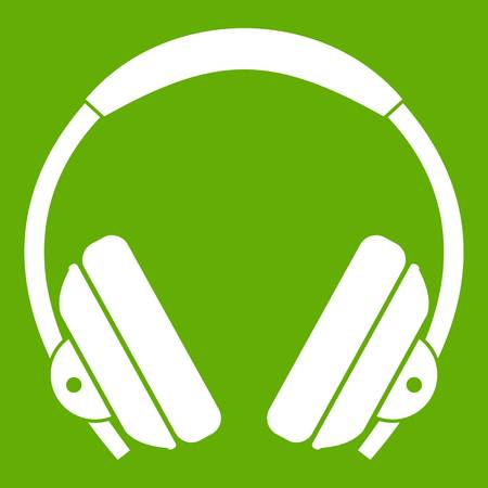 Headphone icon white isolated on green background. Vector illustration