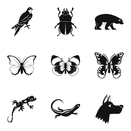 butterfly icons set. Simple set of 9 butterfly vector icons for web isolated on white background