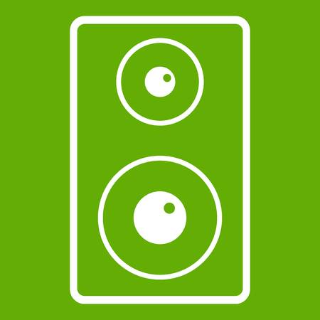 Subwoofer icon white isolated on green background. Vector illustration