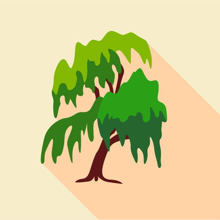 Willow tree icon. Flat illustration of willow tree vector icon for web Illusztráció