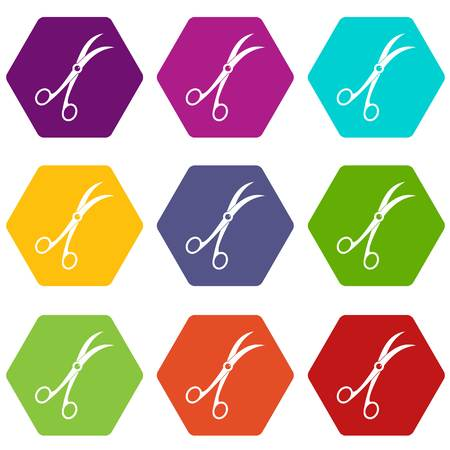 Surgical scissors icon set many color hexahedron isolated on white vector illustration