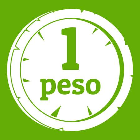 Peso icon white isolated on green background. Vector illustration
