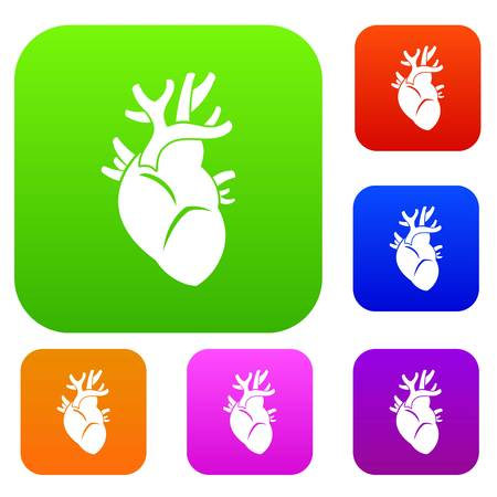 Heart set icon in different colors isolated vector illustration. Premium collection Illustration