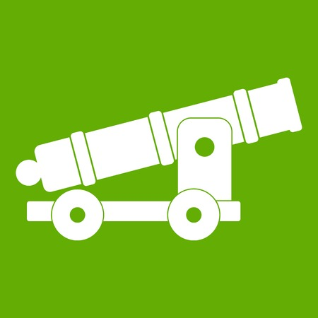 heavy metal: Cannon icon white isolated on green background. Vector illustration