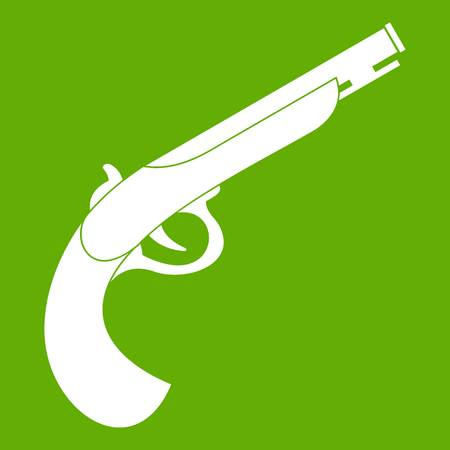 warriors: Gun icon white isolated on green background. Vector illustration