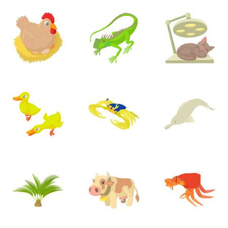 camelopard: Veterinary supervision icons set. Cartoon set of 9 veterinary supervision vector icons for web isolated on white background
