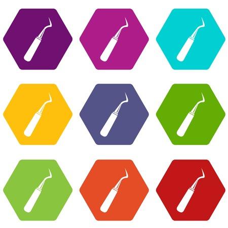 Dental probe icon set many color hexahedron isolated on white vector illustration Illustration
