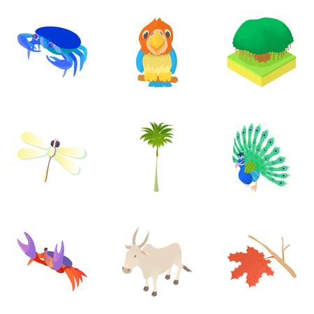 camelopard: Beast icons set. Cartoon set of 9 beast vector icons for web isolated on white background Illustration