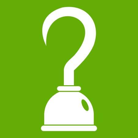 Haak pictogram wit geïsoleerd op groene achtergrond. Vector illustratie