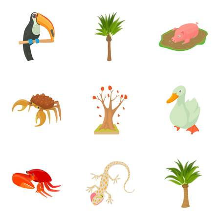 camelopard: Avifauna icons set. Cartoon set of 9 avifauna vector icons for web isolated on white background
