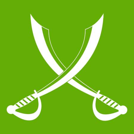 blade: Crossed sabers icon white isolated on green background. Vector illustration
