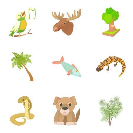 Harmless animal icons set. Cartoon set of 9 harmless animal vector icons for web isolated on white background
