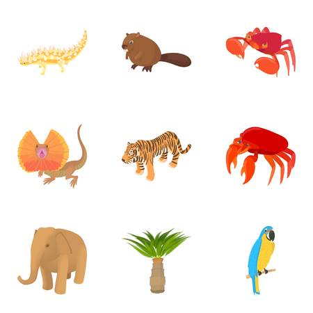 African animal icons set. Cartoon set of 9 african animal vector icons for web isolated on white background