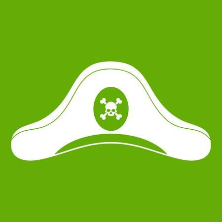 Pirate hat icon white isolated on green background. Vector illustration