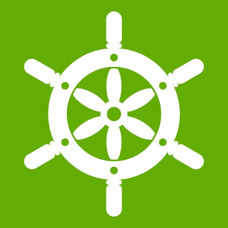 navigator: Ship wheel icon white isolated on green background. Vector illustration Illustration