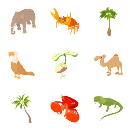 camelopard: Animality icons set. Cartoon set of 9 animality vector icons for web isolated on white background