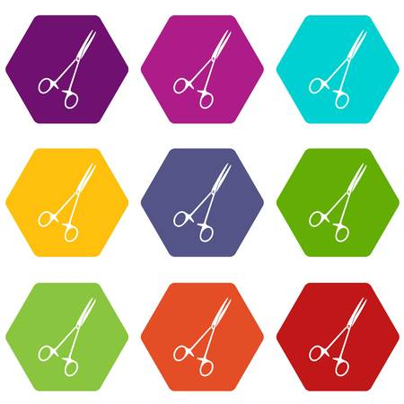 Medical clamp scissors icon set many color hexahedron isolated on white vector illustration