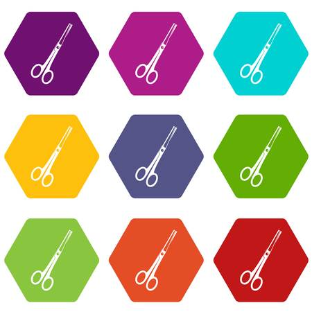 Steel scissors icon set many color hexahedron isolated on white vector illustration