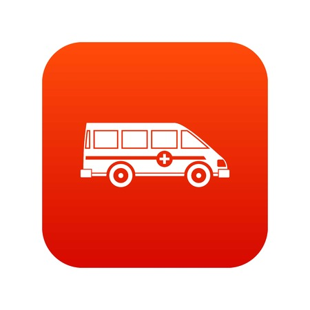 Ambulance emergency van icon digital red for any design isolated on white vector illustration