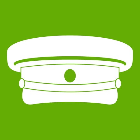 Military hat icon white isolated on green background. Vector illustration