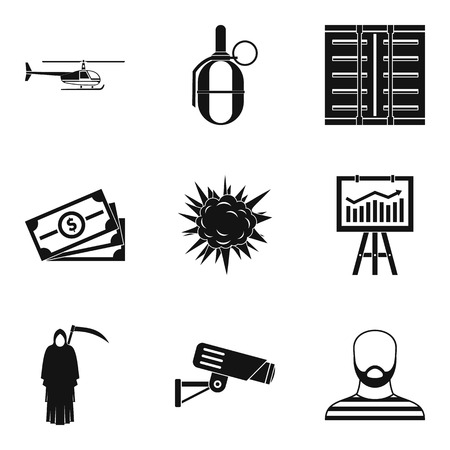perpetrator: Perpetrator icons set. Simple set of 9 perpetrator vector icons for web isolated on white background