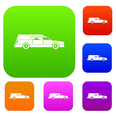 Hearse set icon in different colors isolated vector illustration. Premium collection Illustration