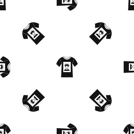offset printer: White shirt with print of man portrait pattern repeat seamless in black color for any design. Vector geometric illustration