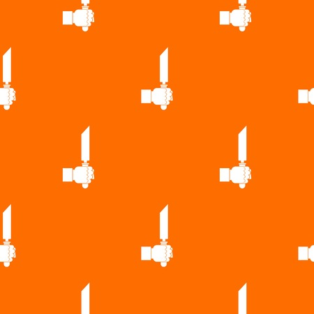 Pincer or plier in man hand pattern repeat seamless in orange color for any design. Vector geometric illustration