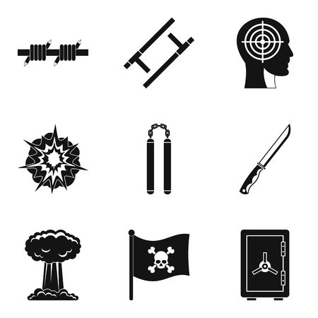 Pirate icons set. Simple set of 9 pirate vector icons for web isolated on white background Illustration