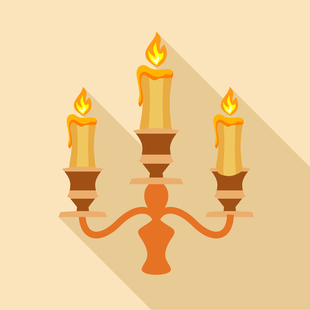 Candelabra candle icon. Flat illustration of candelabra candle vector icon for web