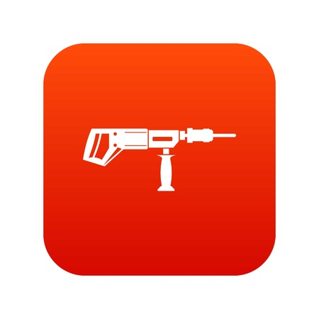 Electric drill, perforator icon digital red for any design isolated on white vector illustration